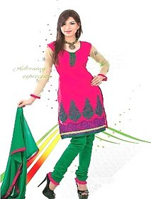 Panache Bright Pink and Green Unstitched Dress Material