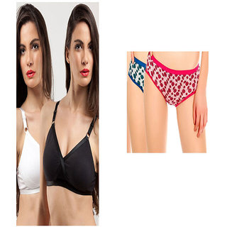 Pack of 2 Brassieres And 2 Assorted  Soft Panties