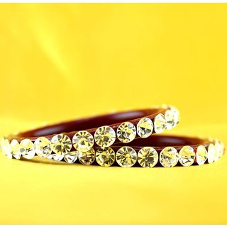 Amazzing pearl stone bangles colour red size-2.12,2.14