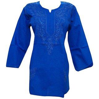 Blue Embroidered Womens Lucknow Chikan Cotton Kurta