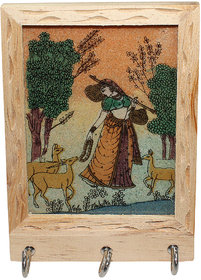 Paramsai Wooden Painting 3 Hooks Key Holder