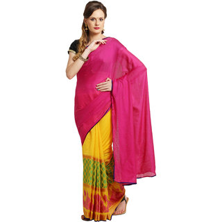 Parchayee Pink Georgette Plain Saree With Blouse