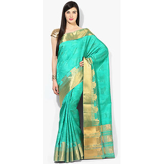 Parchayee Green Jacquard Self Design Saree With Blouse