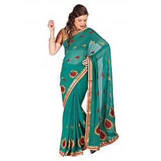 Parchayee Green Chiffon Embroidered Saree With Blouse