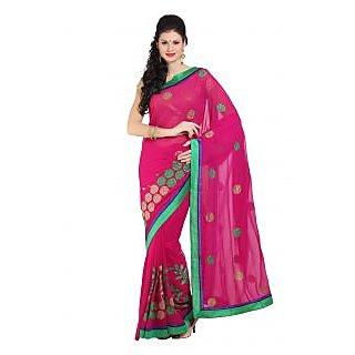 Parchayee Self Design Pink Chiffon Saree 92497
