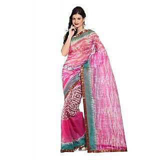Parchayee Pink Net Printed Saree With Blouse
