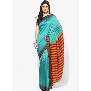 Parchayee Green Cotton Striped Saree With Blouse