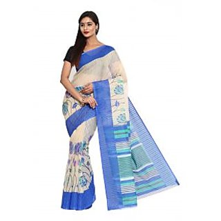 Parchayee Beige Cotton Printed Saree With Blouse
