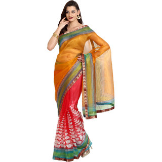 Parchayee Yellow Net Floral Print Saree With Blouse