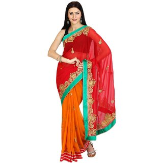 Parchayee Self Design Red Chiffon Saree 92684