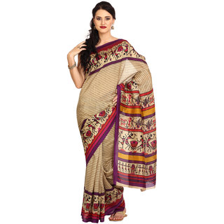 Parchayee Beige Georgette Printed Saree With Blouse