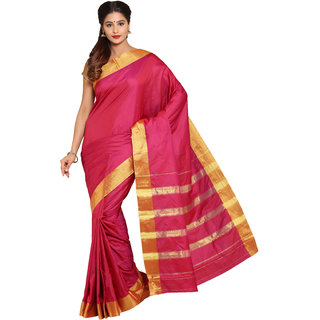 Parchayee Pink Cotton Plain Saree With Blouse