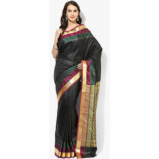 Parchayee Black Crepe Self Design Saree With Blouse