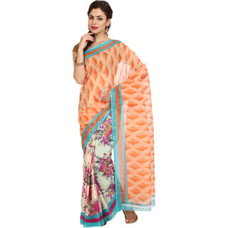 Parchayee Orange Cotton Printed Saree With Blouse