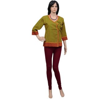 Pezzava: Ethnic Style Ladies Wear Cotton Kurti Block Print Casual Wear TOP-A0255