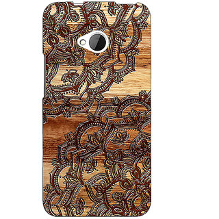 1 Crazy Designer Black Brown Doodle Pattern Back Cover Case For HTC One M7 C190213