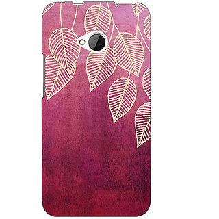 1 Crazy Designer Golden Leaves Pattern Back Cover Case For HTC One M7 C190217