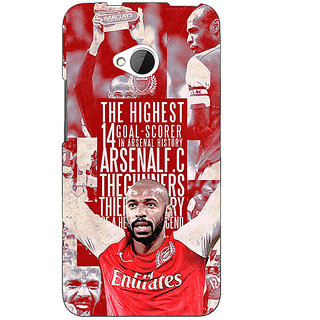 1 Crazy Designer Arsenal Therry Henry Back Cover Case For HTC One M7 C190514