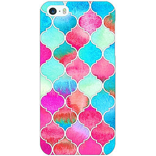 1 Crazy Designer Blue Pink Moroccan Tiles Pattern Back Cover Case For Apple iPhone 5 C20295