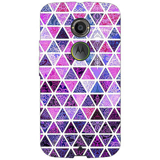 1 Crazy Designer Purple Triangles Pattern Back Cover Case For Moto X (2nd Gen) C230268