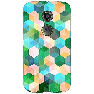 1 Crazy Designer Green Hexagons Pattern Back Cover Case For Moto X (2nd Gen) C230276