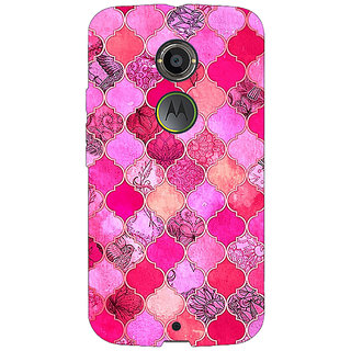 1 Crazy Designer Pink Moroccan Tiles Pattern Back Cover Case For Moto X (2nd Gen) C230288