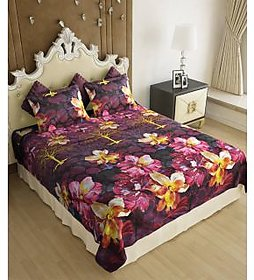 Wonder Collection  Prints Premium Double Bedsheet With 2 Pillow Covers Complem