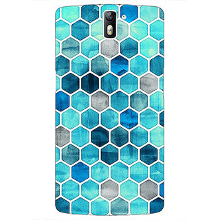 1 Crazy Designer Blue Hexagons Pattern Back Cover Case For OnePlus One C410270