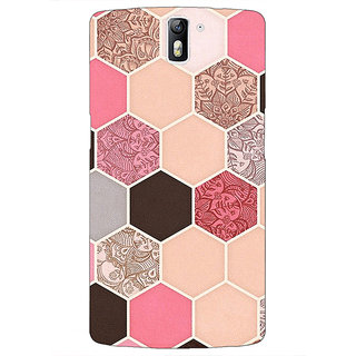 1 Crazy Designer Pink Hexagons Pattern Back Cover Case For OnePlus One C410271