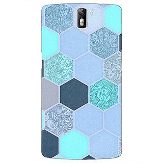 1 Crazy Designer Llight Blue Hexagons Pattern Back Cover Case For OnePlus One C410272