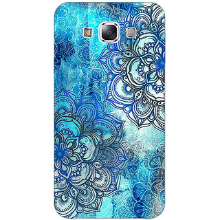 1 Crazy Designer Blue Floral Doodle Pattern Back Cover Case For Samsung Galaxy E7 C420211