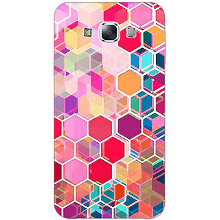 1 Crazy Designer Red Blue Hexagons Pattern Back Cover Case For Samsung Galaxy E5 C440274