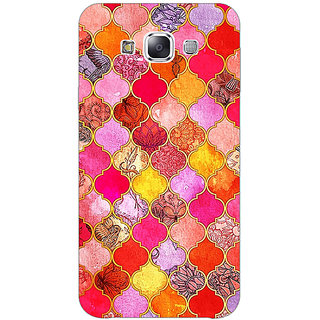 1 Crazy Designer Red Moroccan Tiles Pattern Back Cover Case For Samsung Galaxy E5 C440289