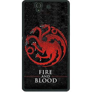 1 Crazy Designer Game Of Thrones GOT House Targaryen  Back Cover Case For Sony Xperia Z C460200