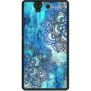 1 Crazy Designer Blue Floral Doodle Pattern Back Cover Case For Sony Xperia Z C460211