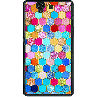 1 Crazy Designer Coloured Hexagon Pattern Back Cover Case For Sony Xperia Z C460225