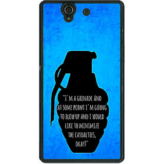 1 Crazy Designer TFIOS Grenade  Back Cover Case For Sony Xperia Z C460106