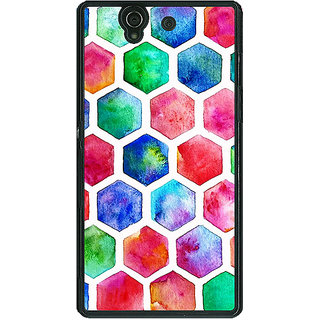 1 Crazy Designer Colour Hexagons Pattern Back Cover Case For Sony Xperia Z C460284
