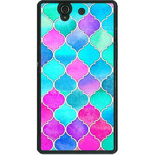 1 Crazy Designer Pink Blue Moroccan Tiles Pattern Back Cover Case For Sony Xperia Z C460294