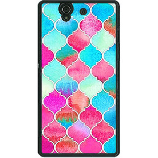 1 Crazy Designer Blue Pink Moroccan Tiles Pattern Back Cover Case For Sony Xperia Z C460295