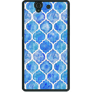 1 Crazy Designer White Blue Moroccan Tiles Pattern Back Cover Case For Sony Xperia Z C460296