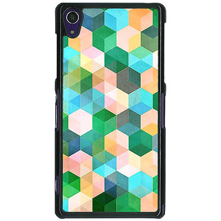 1 Crazy Designer Green Hexagons Pattern Back Cover Case For Sony Xperia Z1 C470276