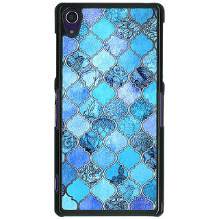 1 Crazy Designer Blue Moroccan Tiles Pattern Back Cover Case For Sony Xperia Z1 C470287