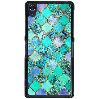 1 Crazy Designer Sky Blue Morocan Tiles Pattern Back Cover Case For Sony Xperia Z1 C470292