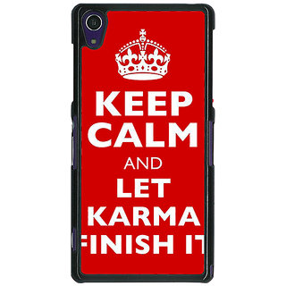 1 Crazy Designer Karma Quote Back Cover Case For Sony Xperia Z1 C471321
