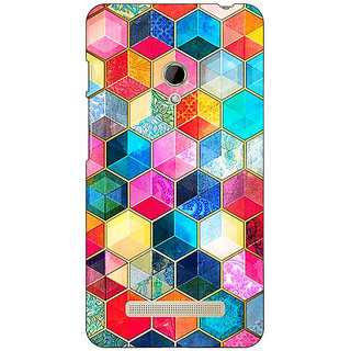 1 Crazy Designer Coloured Hexagons Pattern Back Cover Case For Asus Zenfone 5 C490275