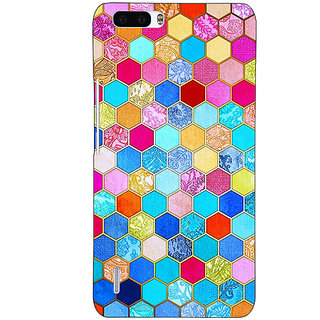 1 Crazy Designer Coloured Hexagon Pattern Back Cover Case For Honor 6 Plus C500225