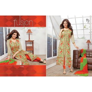 Cotton With Sober Embroidery Georgette Sleeves color Cream with Orange Bottom