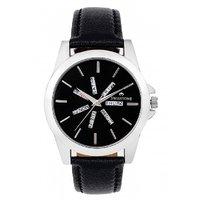 Swisstone Black Leather Strap Analog Watch For Men/Boys- ST-GR015-BLK-BLK