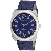 Swisstone Blue Leather Strap Analog Watch For Men/Boys- ST-GR017-DRK-BLU